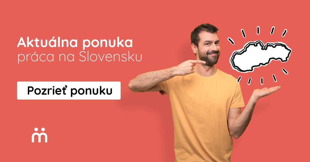muz ukazujuci na nakreslenu mapu Slovenska s preklikom na ponuku prace na Slovensku
