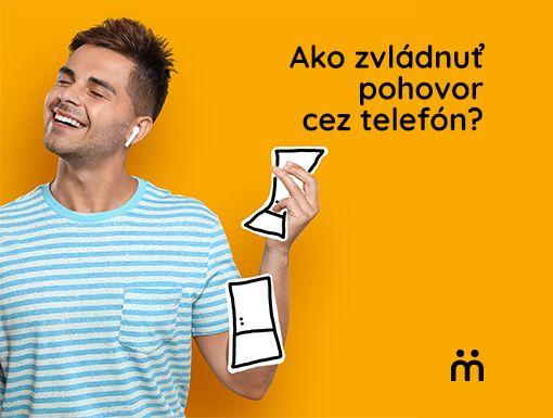 muz so sluchatkami v uchu s textom ako zvladnut pohovor cez telefon